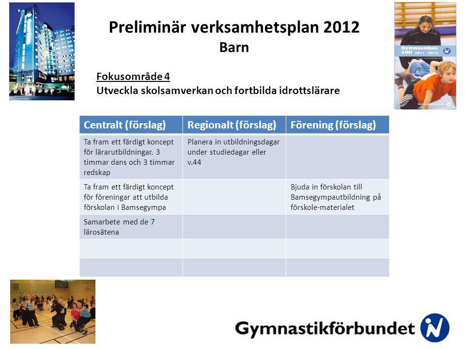 Centralt (förslag)Regionalt (förslag)Förening (förslag) Ta fram ett färdigt koncept för lärarutbildningar.