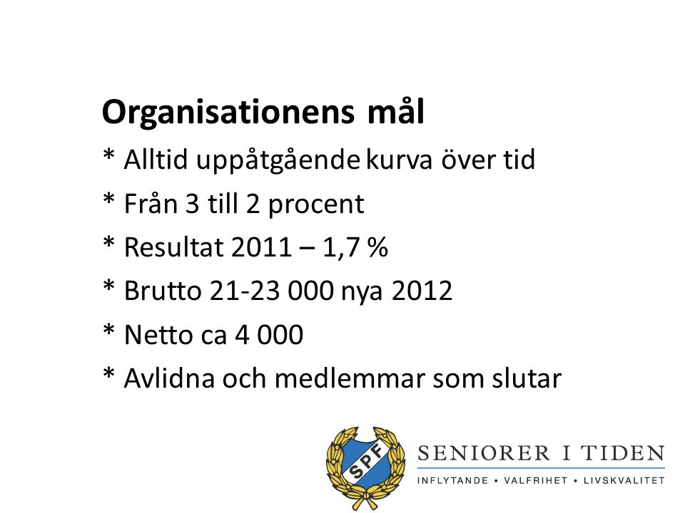Organisationens mål * Alltid uppåtgående kurva över tid * Från 3 till 2 procent * Resultat 2011 – 1,7 % * Brutto 21-23 000 nya 2012 * Netto ca 4 000 * Avlidna och medlemmar som slutar