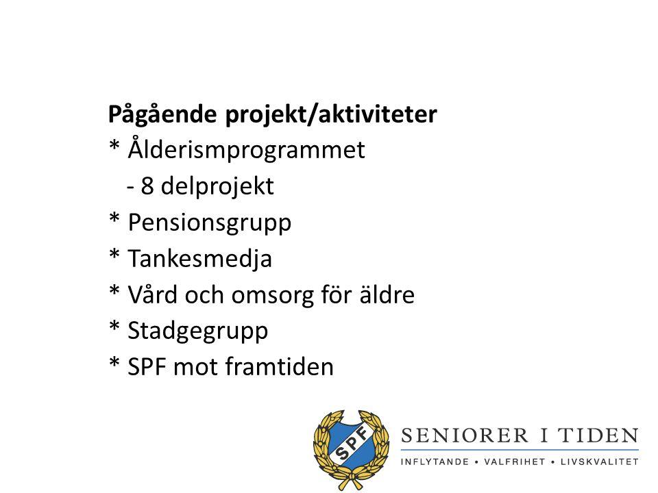 Pågående projekt/aktiviteter * Ålderismprogrammet - 8 delprojekt * Pensionsgrupp * Tankesmedja * Vård och omsorg för äldre * Stadgegrupp * SPF mot framtiden