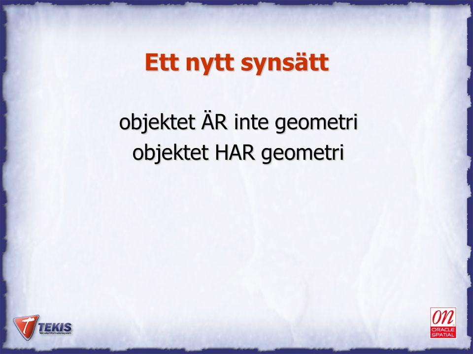 Ett nytt synsätt objektet ÄR inte geometri objektet HAR geometri