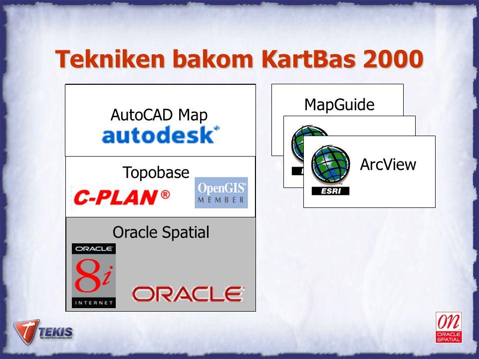 """Tekniken bakom KartBas 2000 GIS """"grafisk editor"""" Databaser Topobase Oracle Spatial AutoCAD Map MapGuide ArcIMSArcView"""