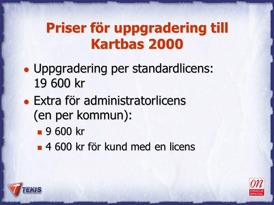 Priser för uppgradering till Kartbas 2000 l Uppgradering per standardlicens: 19 600 kr l Extra för administratorlicens (en per kommun): n 9 600 kr n 4