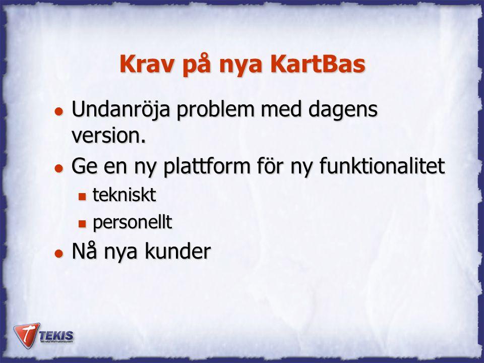 Krav på nya KartBas l Undanröja problem med dagens version. l Ge en ny plattform för ny funktionalitet n tekniskt n personellt l Nå nya kunder
