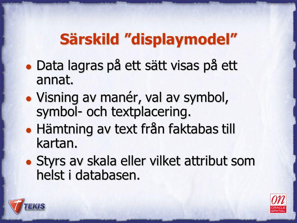 """Särskild """"displaymodel"""" l Data lagras på ett sätt visas på ett annat. l Visning av manér, val av symbol, symbol- och textplacering. l Hämtning av text"""