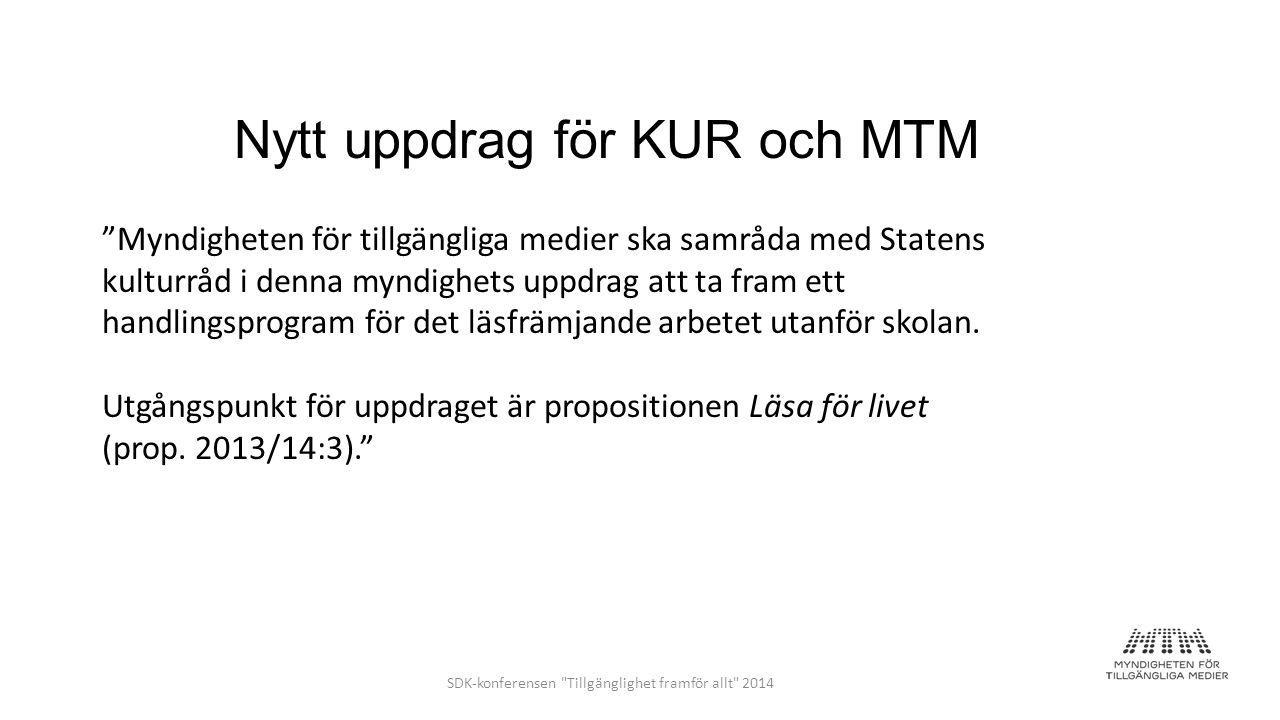 Nytt uppdrag för KUR och MTM Myndigheten för tillgängliga medier ska samråda med Statens kulturråd i denna myndighets uppdrag att ta fram ett handlingsprogram för det läsfrämjande arbetet utanför skolan.