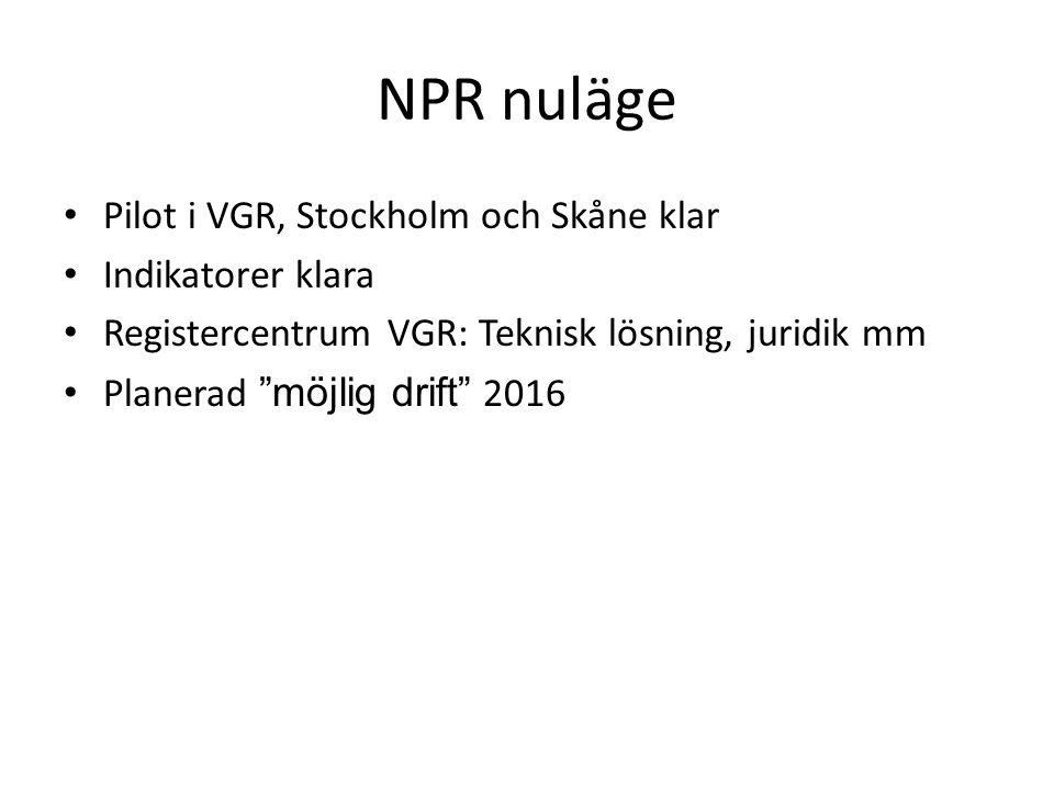 NPR nuläge Pilot i VGR, Stockholm och Skåne klar Indikatorer klara Registercentrum VGR: Teknisk lösning, juridik mm Planerad möjlig drift 2016
