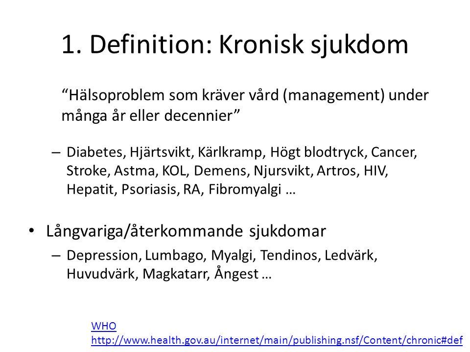 """1. Definition: Kronisk sjukdom """"Hälsoproblem som kräver vård (management) under många år eller decennier"""" WHO http://www.health.gov.au/internet/main/p"""