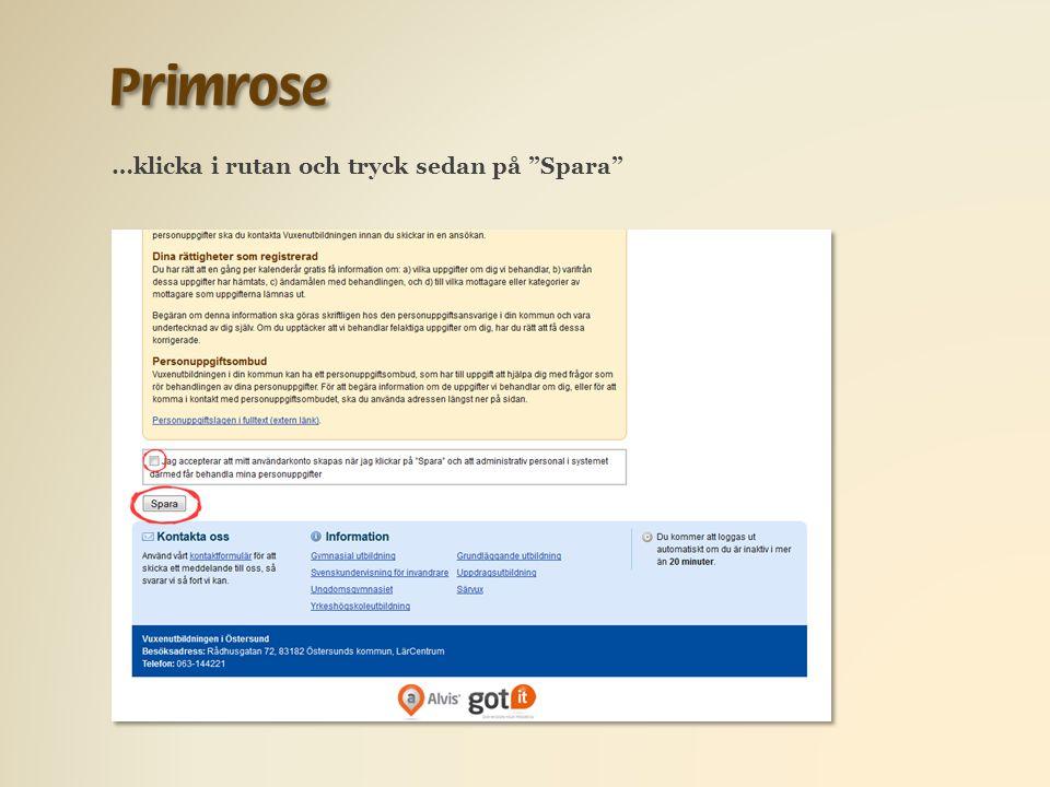 …klicka i rutan och tryck sedan på Spara