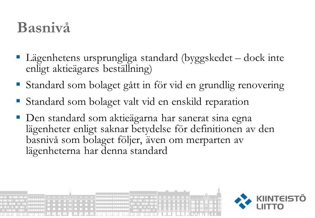 Basnivå  Lägenhetens ursprungliga standard (byggskedet – dock inte enligt aktieägares beställning)  Standard som bolaget gått in för vid en grundlig