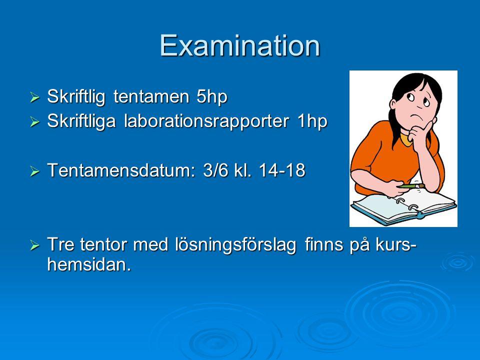 Examination  Skriftlig tentamen 5hp  Skriftliga laborationsrapporter 1hp  Tentamensdatum: 3/6 kl. 14-18  Tre tentor med lösningsförslag finns på k