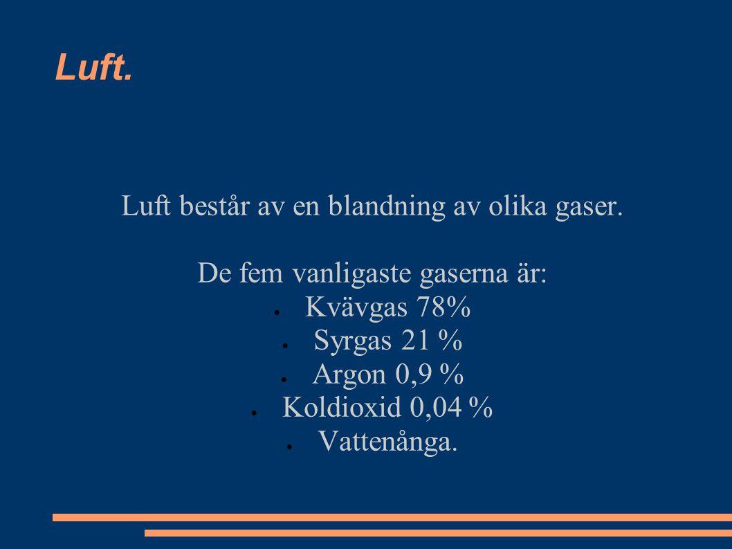 Luft består av en blandning av olika gaser. De fem vanligaste gaserna är:  Kvävgas 78%  Syrgas 21 %  Argon 0,9 %  Koldioxid 0,04 %  Vattenånga. L