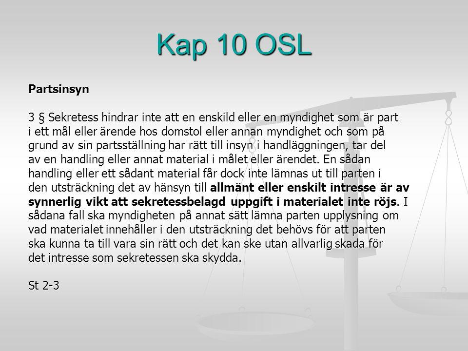 Kap 10 OSL Partsinsyn 3 § Sekretess hindrar inte att en enskild eller en myndighet som är part i ett mål eller ärende hos domstol eller annan myndighe