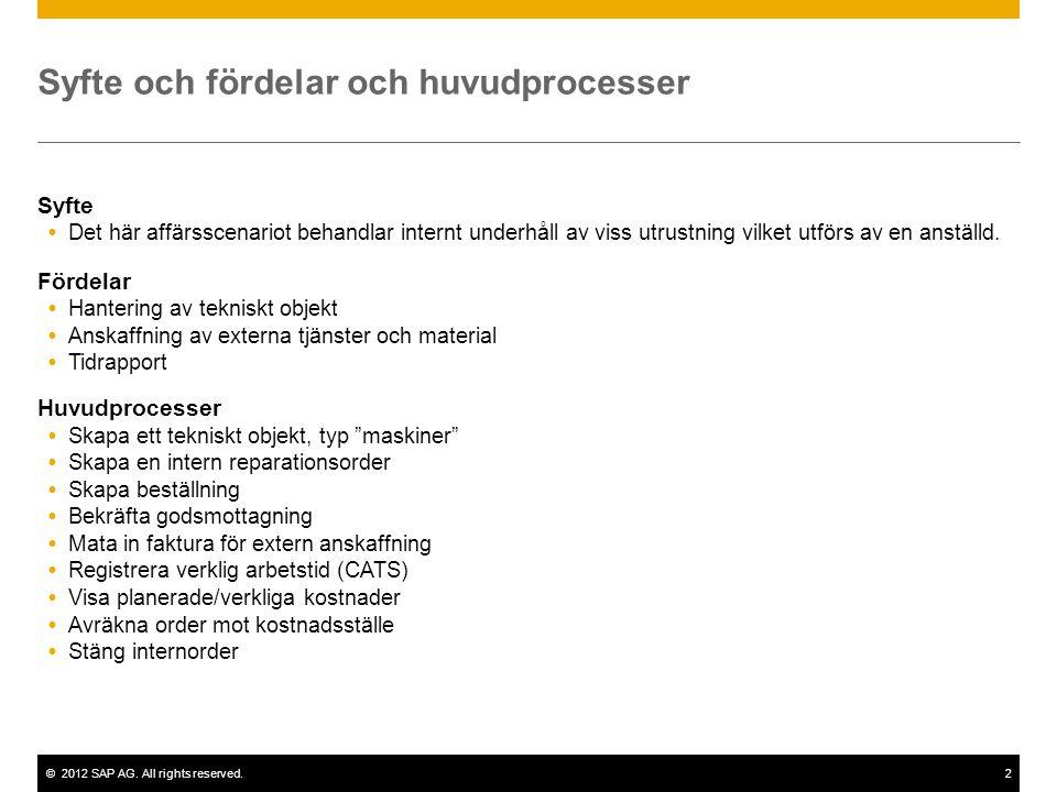 ©2012 SAP AG. All rights reserved.2 Syfte och fördelar och huvudprocesser Syfte  Det här affärsscenariot behandlar internt underhåll av viss utrustni
