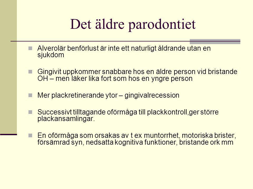 Det äldre parodontiet Alverolär benförlust är inte ett naturligt åldrande utan en sjukdom Gingivit uppkommer snabbare hos en äldre person vid bristand