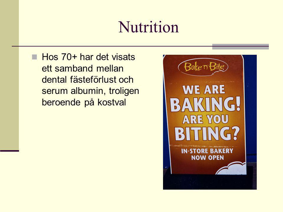 Nutrition Hos 70+ har det visats ett samband mellan dental fästeförlust och serum albumin, troligen beroende på kostval