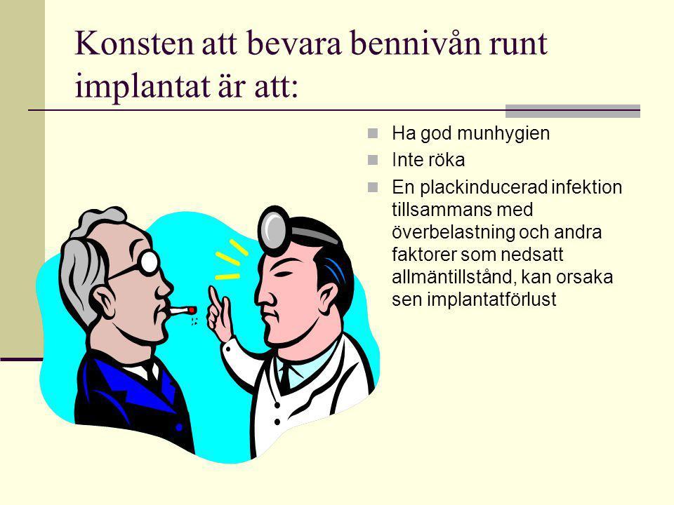 Konsten att bevara bennivån runt implantat är att: Ha god munhygien Inte röka En plackinducerad infektion tillsammans med överbelastning och andra fak