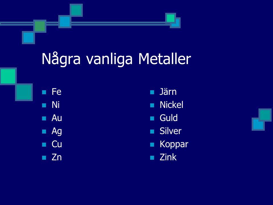 Några vanliga Metaller Fe Ni Au Ag Cu Zn Järn Nickel Guld Silver Koppar Zink