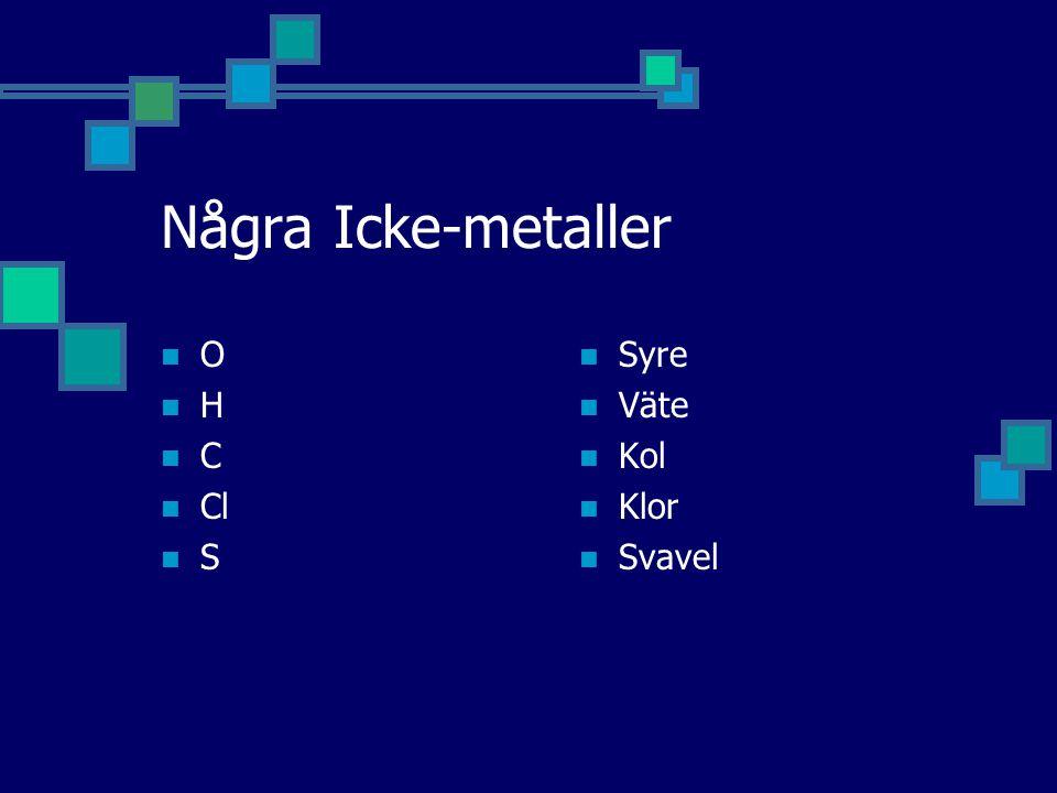 Några Icke-metaller O H C Cl S Syre Väte Kol Klor Svavel