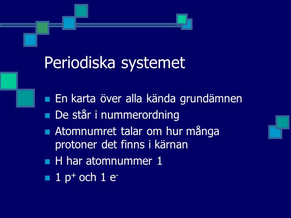 Periodiska systemet En karta över alla kända grundämnen De står i nummerordning Atomnumret talar om hur många protoner det finns i kärnan H har atomnummer 1 1 p + och 1 e -