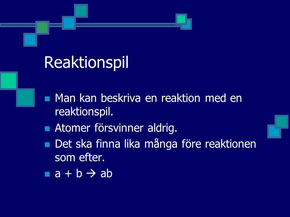 Reaktionspil Man kan beskriva en reaktion med en reaktionspil. Atomer försvinner aldrig. Det ska finna lika många före reaktionen som efter. a + b  a