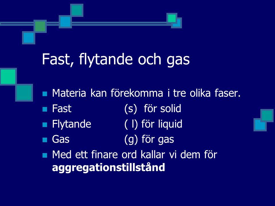 Fast, flytande och gas Materia kan förekomma i tre olika faser. Fast(s) för solid Flytande( l) för liquid Gas(g) för gas Med ett finare ord kallar vi