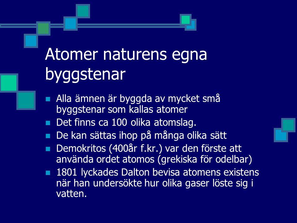 Atomer naturens egna byggstenar Alla ämnen är byggda av mycket små byggstenar som kallas atomer Det finns ca 100 olika atomslag. De kan sättas ihop på