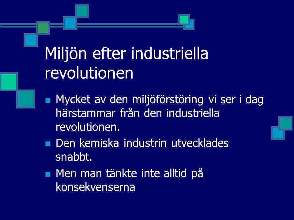 Miljön efter industriella revolutionen Mycket av den miljöförstöring vi ser i dag härstammar från den industriella revolutionen. Den kemiska industrin