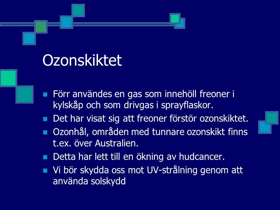 Ozonskiktet Förr användes en gas som innehöll freoner i kylskåp och som drivgas i sprayflaskor. Det har visat sig att freoner förstör ozonskiktet. Ozo