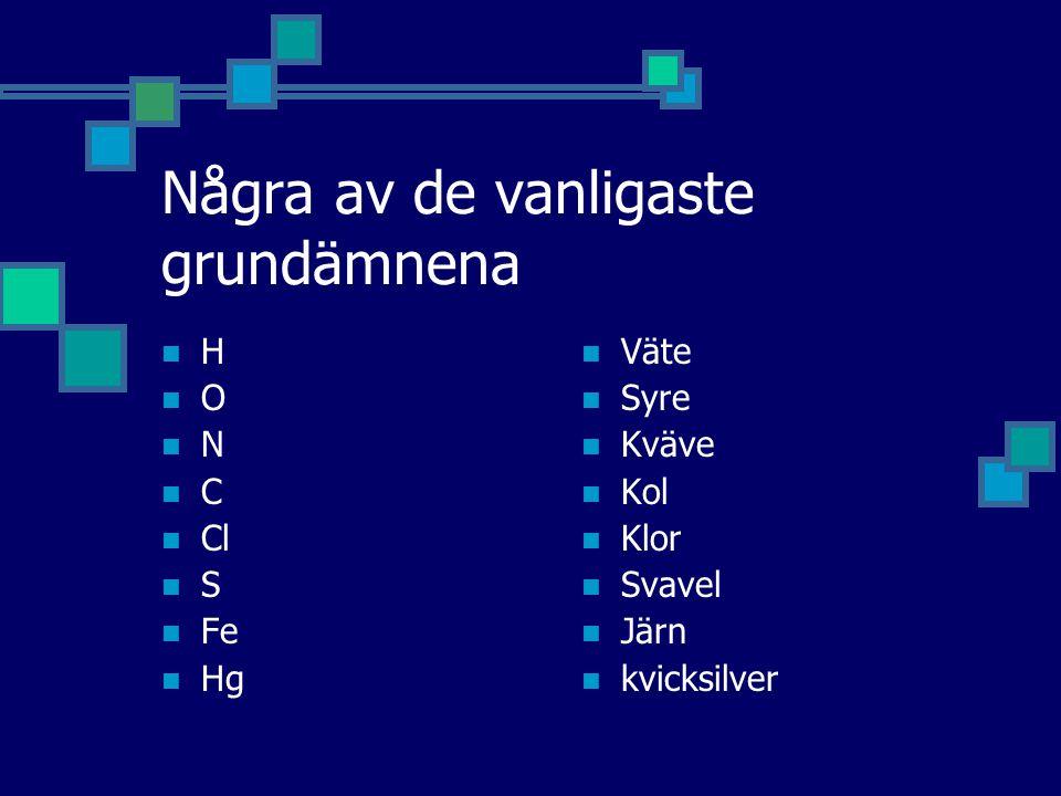 Några av de vanligaste grundämnena H O N C Cl S Fe Hg Väte Syre Kväve Kol Klor Svavel Järn kvicksilver