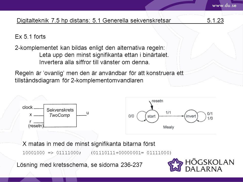 Digitalteknik 7.5 hp distans: 5.1 Generella sekvenskretsar 5.1.23 Ex 5.1 forts 2-komplementet kan bildas enligt den alternativa regeln: Leta upp den m