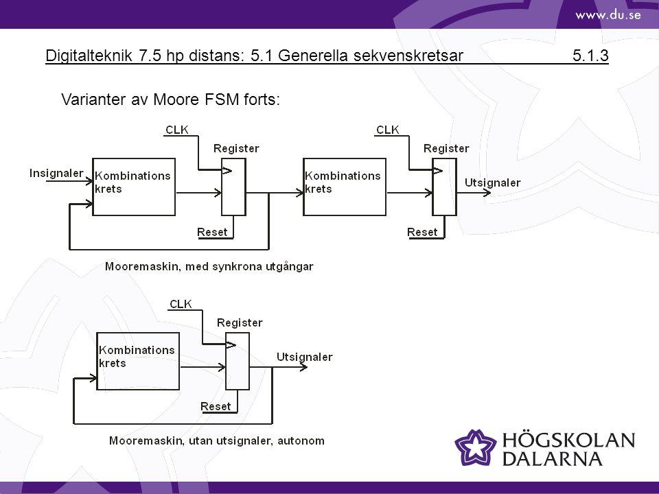 Digitalteknik 7.5 hp distans: 5.1 Generella sekvenskretsar 5.1.3 Varianter av Moore FSM forts:
