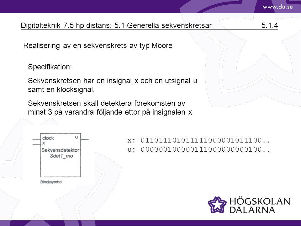 Digitalteknik 7.5 hp distans: 5.1 Generella sekvenskretsar 5.1.4 Realisering av en sekvenskrets av typ Moore Specifikation: Sekvenskretsen har en insi