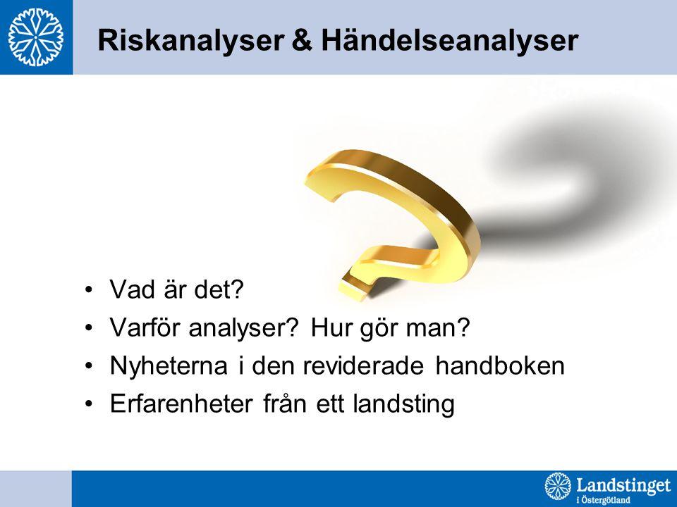Östergötland 2008 utfördes inom landstinget 26 övergripande riskanalyser I genomsnitt 1 lokal riskanalys per enhet/klinik nivå (ca 100 enheter) 112 utbildade medarbetare