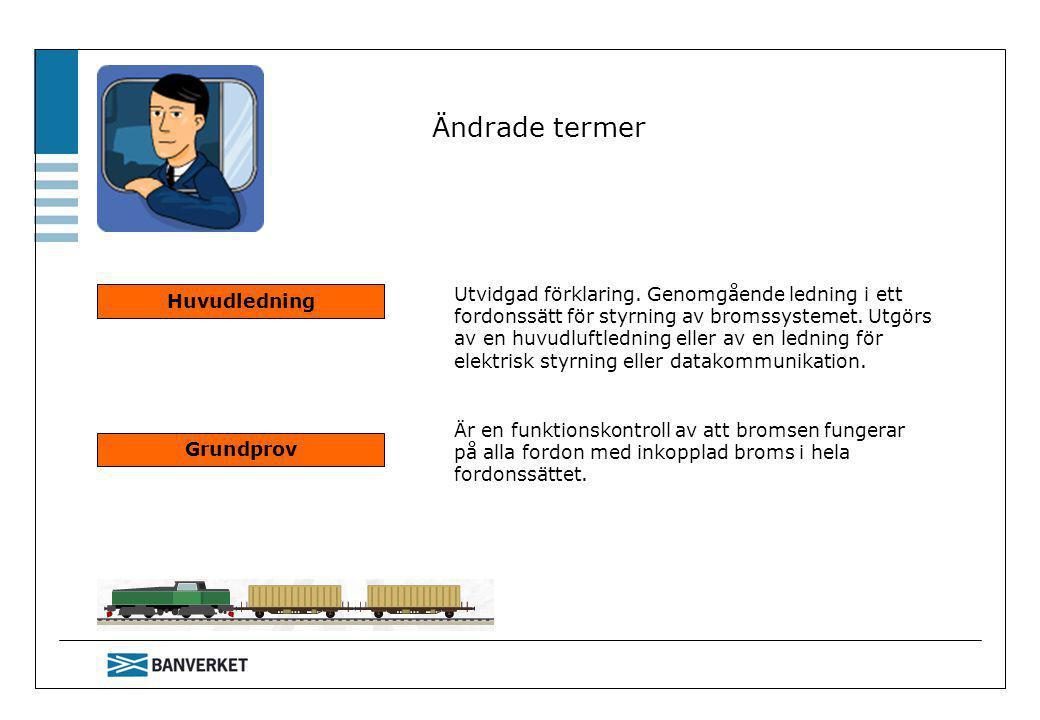 Ändrade termer Huvudledning Utvidgad förklaring. Genomgående ledning i ett fordonssätt för styrning av bromssystemet. Utgörs av en huvudluftledning el