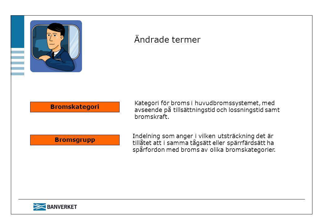 Ändrade termer Bromskategori Bromsgrupp Kategori för broms i huvudbromssystemet, med avseende på tillsättningstid och lossningstid samt bromskraft. In
