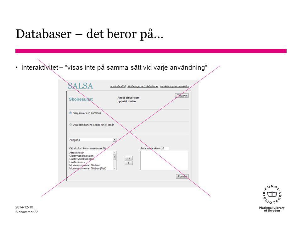"""Sidnummer Databaser – det beror på… Interaktivitet – """"visas inte på samma sätt vid varje användning"""" 2014-12-10 22"""