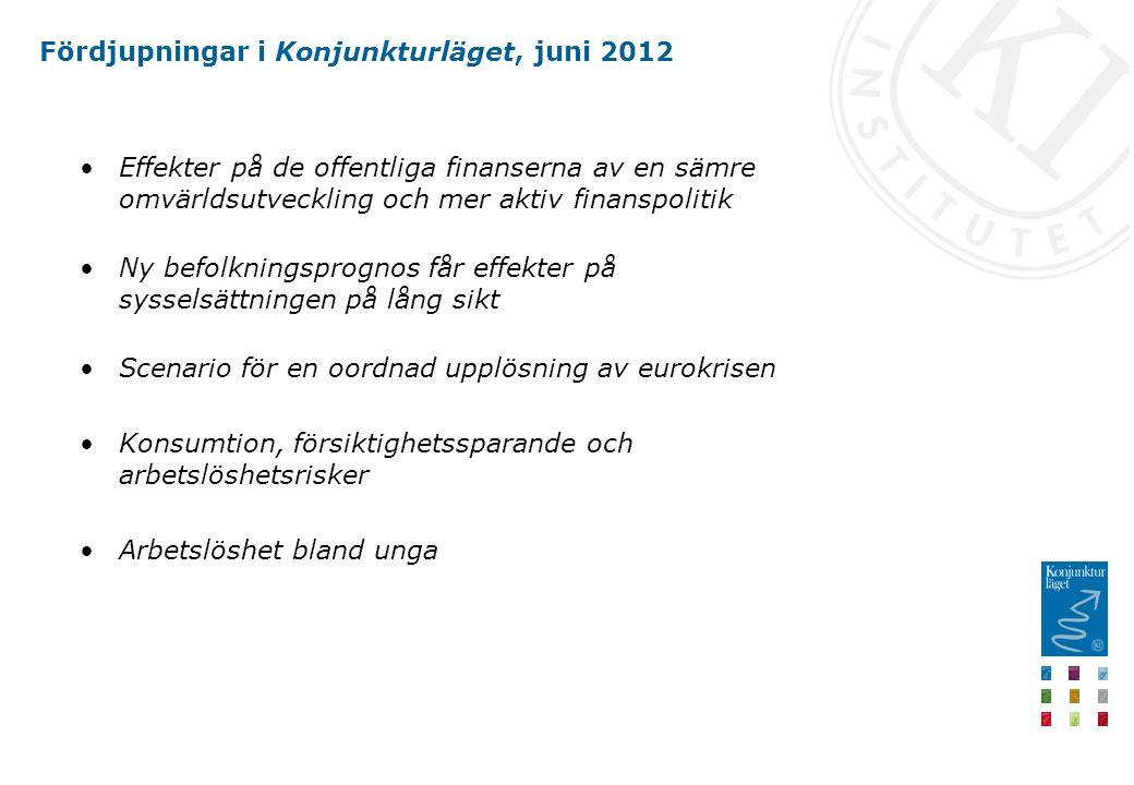 Fördjupningar i Konjunkturläget, juni 2012 Effekter på de offentliga finanserna av en sämre omvärldsutveckling och mer aktiv finanspolitik Ny befolkni