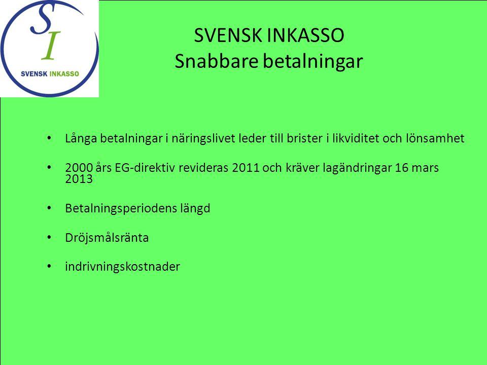 SVENSK INKASSO Snabbare betalningar Långa betalningar i näringslivet leder till brister i likviditet och lönsamhet 2000 års EG-direktiv revideras 2011