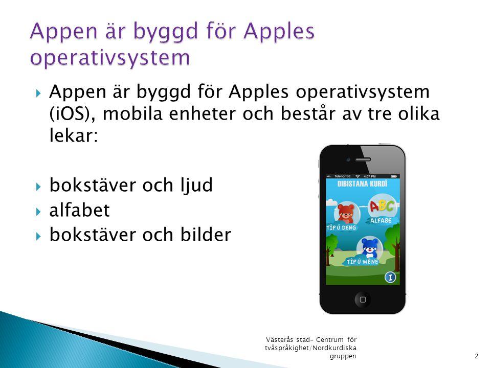  Appen är byggd för Apples operativsystem (iOS), mobila enheter och består av tre olika lekar:  bokstäver och ljud  alfabet  bokstäver och bilder 2 Västerås stad- Centrum för tvåspråkighet/Nordkurdiska gruppen