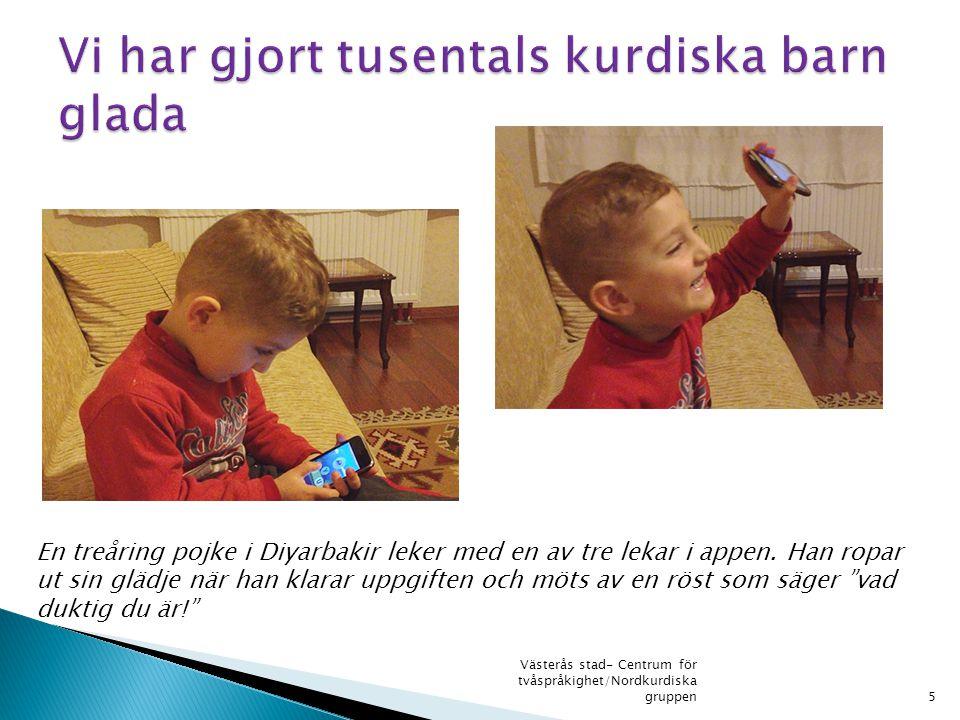 """En treåring pojke i Diyarbakir leker med en av tre lekar i appen. Han ropar ut sin glädje när han klarar uppgiften och möts av en röst som säger """"vad"""