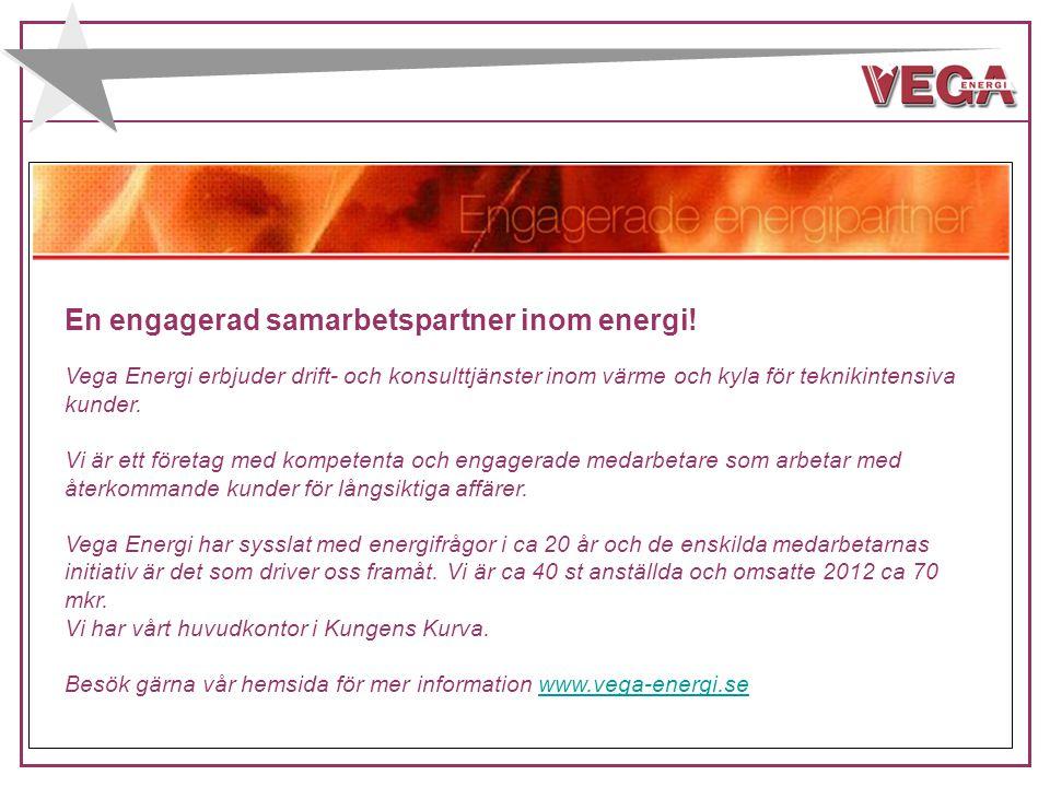 FÖRETAGET ETABLERADES: 1994 ÄGARE: VEGA AB OMSÄTTNING: 2013, ca 65 Mkr ANSTÄLLDA: ca 40 st HVD.KONTOR: Kungens Kurva KVALITET (ISO 9001) MILJÖ (ISO 14001) ARBETSMILJÖ (OHSAS 18001) BAS P & U ENERGIDEKLARATIONER FÖRETAGSCERTIFIKAT KYLA BEHÖRIGA FÖR ENERGIGASER RIKSBEHÖRIGHET OVK ALLMÄN ELBEHÖRIGHET BEHÖRIG BESIKTNINGSM.