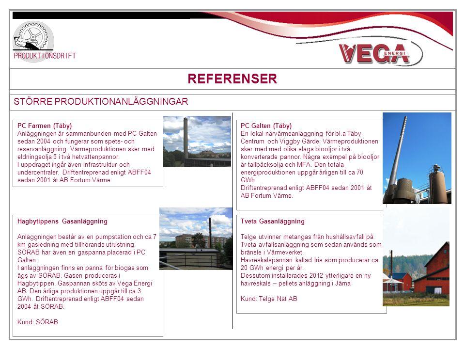 REFERENSER STÖRRE PRODUKTIONANLÄGGNINGAR PC Farmen (Täby) Anläggningen är sammanbunden med PC Galten sedan 2004 och fungerar som spets- och reservanlä