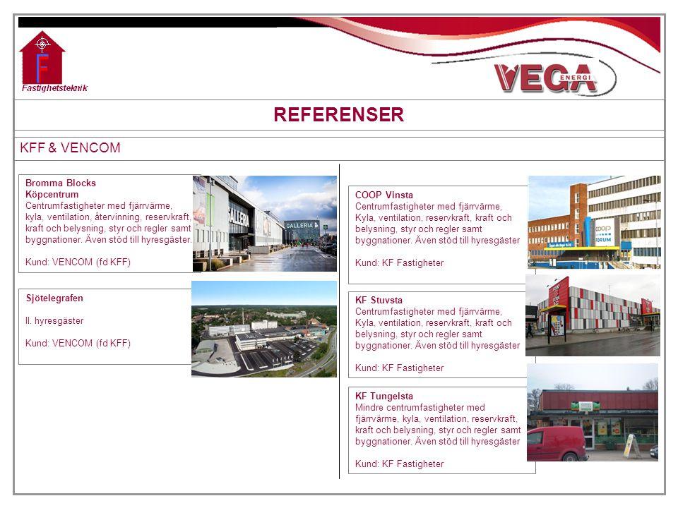 REFERENSER KFF & VENCOM Bromma Blocks Köpcentrum Centrumfastigheter med fjärrvärme, kyla, ventilation, återvinning, reservkraft, kraft och belysning,