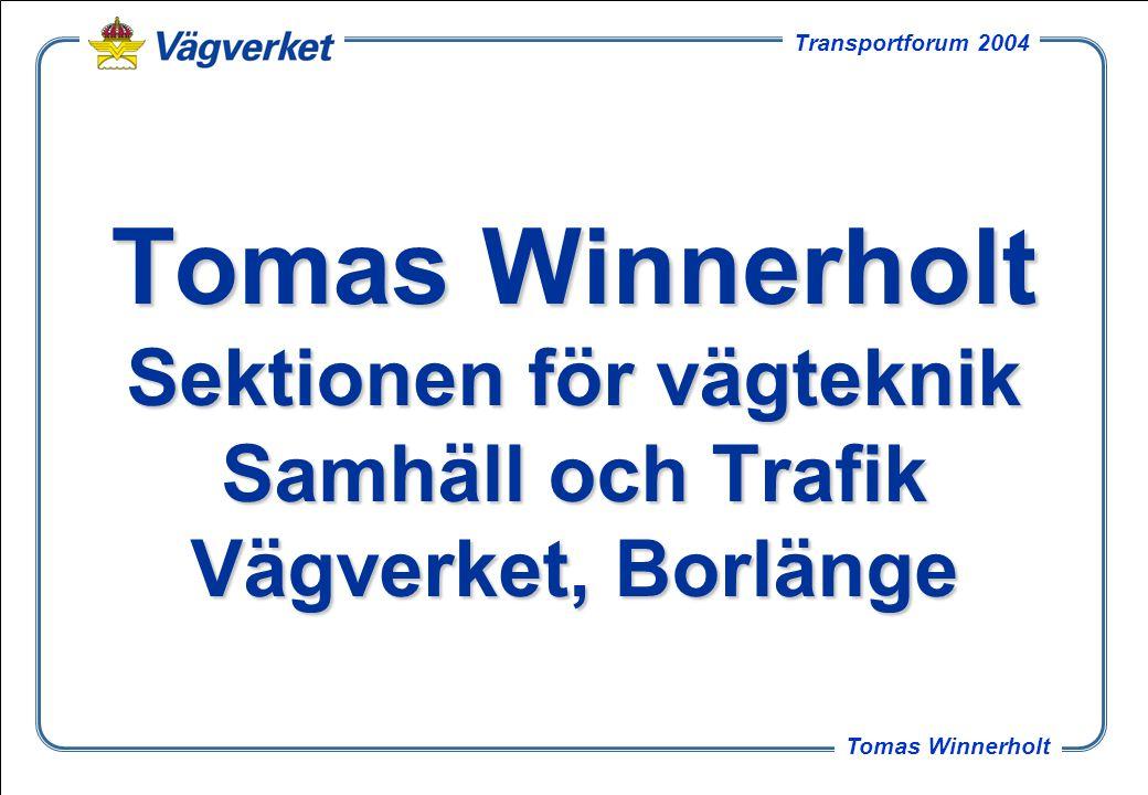 3 Tomas Winnerholt Transportforum 2004 Innehåll Allmänt om B-WIM projektet Redovisning av antal standardaxlar per tungt fordon för samtliga mätplatser Redovisning av en mätplats Konsekvenserna av felbedömning av antalet standardaxlar