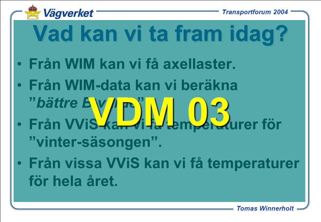 21 Tomas Winnerholt Transportforum 2004 VägDimensioneringsModell 03 Spänningar och töjningar för varje kombination av axlar som passerar.