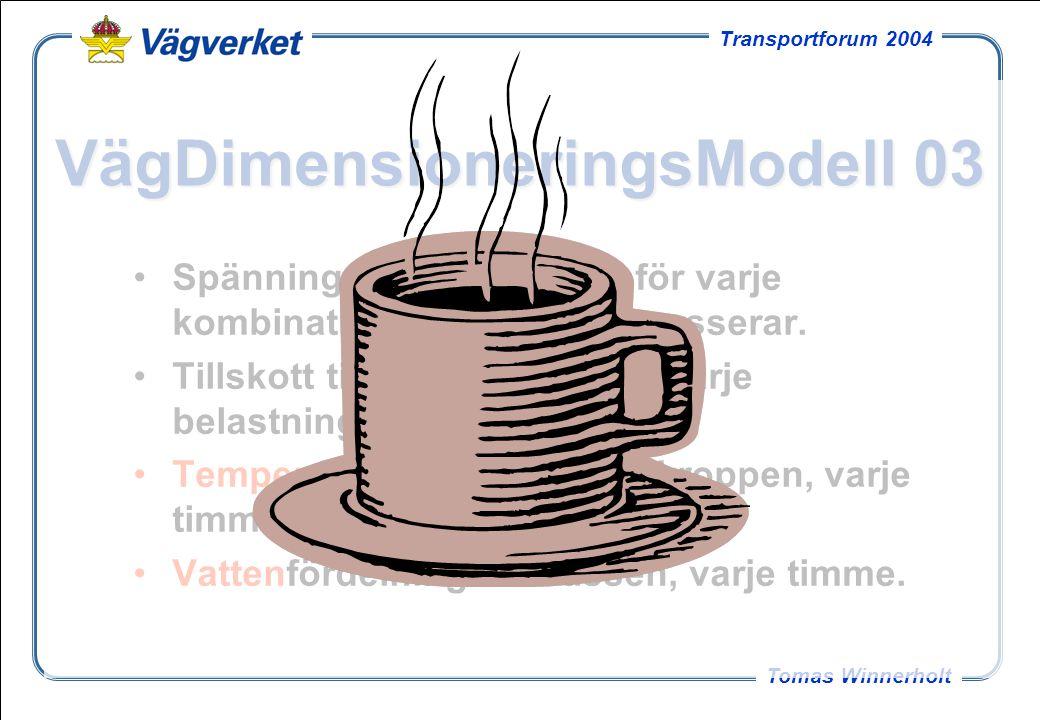 21 Tomas Winnerholt Transportforum 2004 VägDimensioneringsModell 03 Spänningar och töjningar för varje kombination av axlar som passerar. Tillskott ti