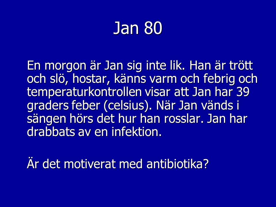 Jan 80 En morgon är Jan sig inte lik. Han är trött och slö, hostar, känns varm och febrig och temperaturkontrollen visar att Jan har 39 graders feber