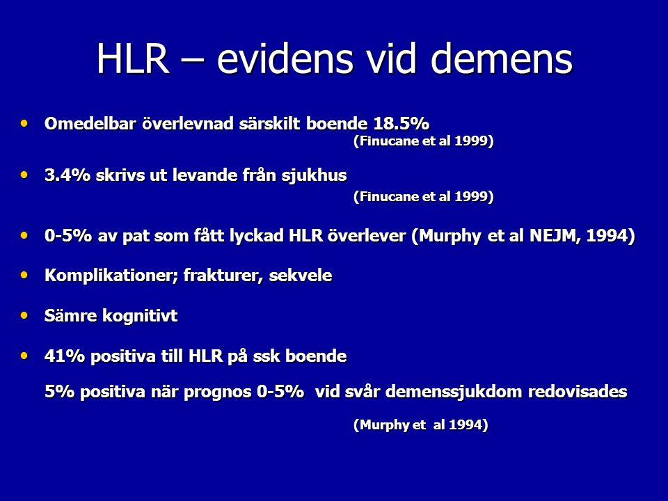 HLR – evidens vid demens Omedelbar ö verlevnad särskilt boende 18.5% (Finucane et al 1999) Omedelbar ö verlevnad särskilt boende 18.5% (Finucane et al
