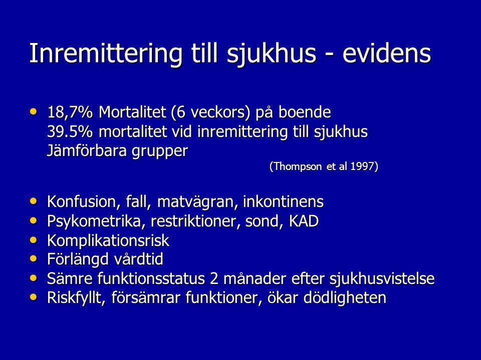 Inremittering till sjukhus - evidens 18,7% Mortalitet (6 veckors) p å boende 18,7% Mortalitet (6 veckors) p å boende 39.5% mortalitet vid inremitterin