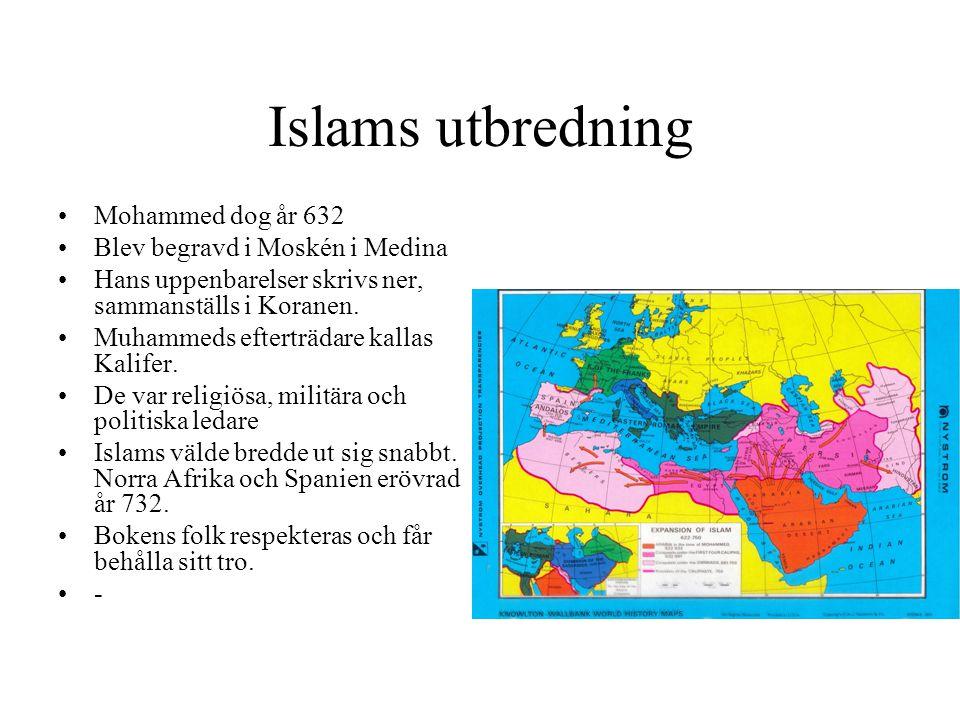 Islams utbredning Mohammed dog år 632 Blev begravd i Moskén i Medina Hans uppenbarelser skrivs ner, sammanställs i Koranen. Muhammeds efterträdare kal